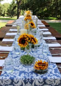 deco bleu chemin table