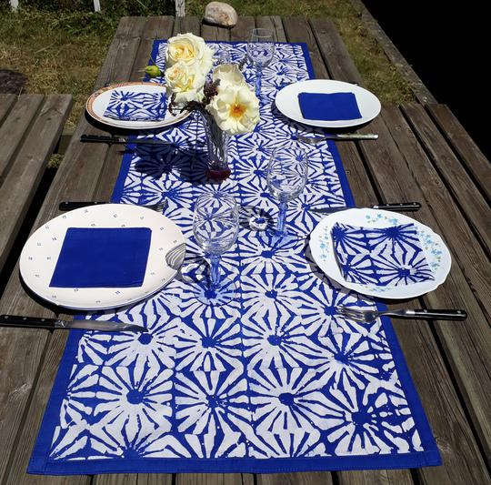 deco bleu chemin de table