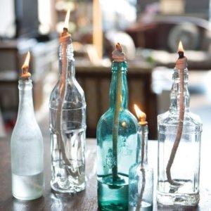 bouteilles bleues transparentes déco